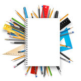 Notepad and pens. Back to school theme. Notebook rulers pens and pencils. Vector background for education designs Stock Photography