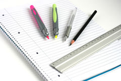 Notepad pens pencil ruler Stock Photo