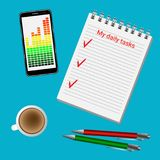 Notepad, phone, coffee and pens on the office desktop. Notepad, phone, coffee and pens on the office desktop to decorate banners, websites, postcards, posters Royalty Free Stock Photography