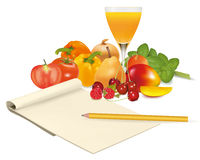 Notepad with recipe, tomato and some vegetables. With pencil on table. Vector Stock Photo
