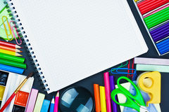 Notepad for recording and school supplies Royalty Free Stock Photography