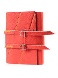 Notepad. Red Leather Closed Paper Notepad With Buckles Isolated On White Background Royalty Free Stock Photos