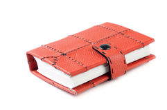 Notepad. Red Leather Closed Paper Notepad Isolated On White Background Stock Images