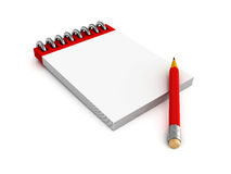 Notepad and red pencil on white background Stock Photography