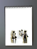 Notepad with ripped paper design, Couple in love Stock Photography