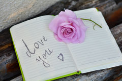Notepad with rose on green background. Open Notepad with pink rose and love you sign stock photo