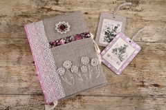Notepad for rustic entries. Beautiful handmade rustic notebook. Embroidery, knitting, sewing Stock Image