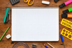 Notepad, school background. School background with place for text Stock Photos