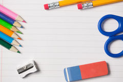 Notepad and school work supplies Royalty Free Stock Images