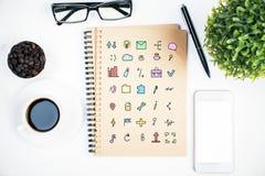 Notepad with social media icons Royalty Free Stock Photo