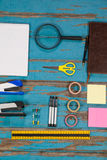 Notepad, stapler, pins, sellotapes, diary, sticky notes, ruler and pens Royalty Free Stock Images