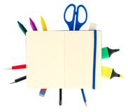 Notepad with stationary objects Stock Image