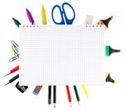 Notepad with stationary objects Royalty Free Stock Image
