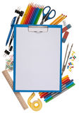 Notepad with stationary objects i Stock Photos