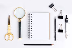 Notepad and stationery items Royalty Free Stock Photo