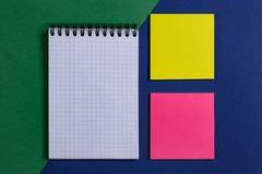 Notepad with stickers stock photos