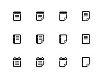 Notepad and sticky note icon set. Stock Photos