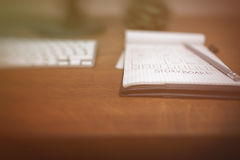 Notepad with storyboard and pencil on it royalty free stock image