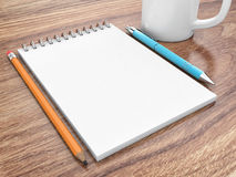 Notepad on a table Royalty Free Stock Photos