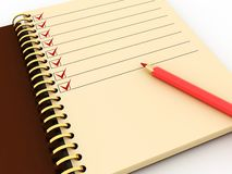 Notepad with task list. 3d illustration of notepad with task list where all items checked Royalty Free Stock Images