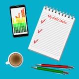 Notepad, telefon, kaffe och pennor på kontorsskrivbordet royaltyfri illustrationer