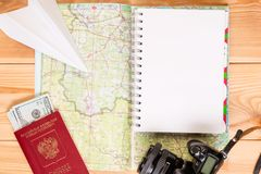 A notepad to record an expedition plan and a close-up Stock Images