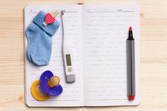 Notepad - top view Royalty Free Stock Images