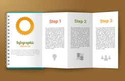 Notepad unfolded infographic. Unfolded paper notepad with infographic steps elements vector illustration Stock Image