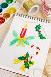 Notepad with watercolor christmas illustrations Royalty Free Stock Photos