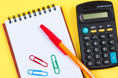 Notepad With Calculator And Pen. Stock Photos