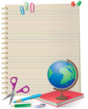 NOTEPAD WITH SCHOOL SUPPLIES Royalty Free Stock Images