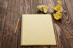 Notepad on a wooden table Stock Photo