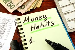 Notepad with word Money Habits. Saving and planning. Notepad with word Money Habits. Saving and planning concept Royalty Free Stock Photography
