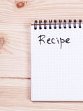 Notepad with the word recipe Stock Images