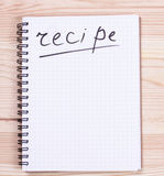 Notepad with the word recipe Stock Photography