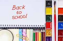 Notepad with the words back to school Stock Image
