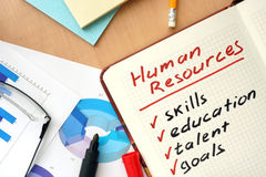 Notepad with words  human resources  concept Stock Images