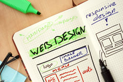 Notepad with words web design concept Stock Photo