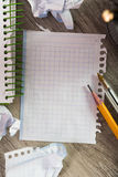 Notepad with writing utensils Royalty Free Stock Photos