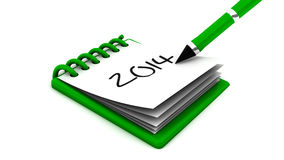 2014 in a notepad Royalty Free Stock Photo