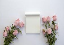 Notepad z różami na białym tle Romantycznego mieszkania sztandaru nieatutowy szablon z teksta miejscem Obrazy Stock