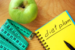 Notepad z słowo diety planem obrazy royalty free