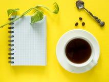 Notepaden för anmärkningar, gröna sidor planterar kaffekoppen på det gula skrivbordet, den lekmanna- lägenheten, kopieringsutrymm Royaltyfri Foto