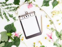 Notepaden för lägenheten för den bästa sikten blommar den lekmanna- tomma med den sommarsidor och tusenskönan modellen Fotografering för Bildbyråer