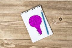 Notepaden med blyertspennan och skissar Arkivbild