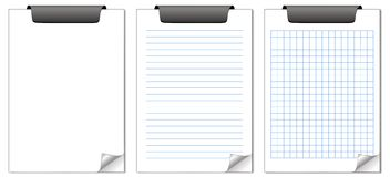 Notepads. Three notepads with a curled page: blank, lined and squared Stock Photos
