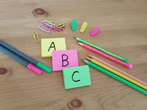 Notepads with ABC letters, School Supplies, Back to school, Stationery stock images