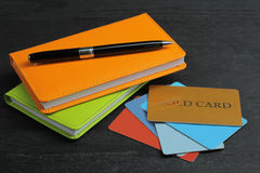Notepads and credit cards Stock Image