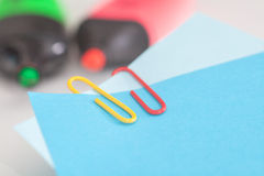 Notepads with paperclip Royalty Free Stock Images