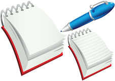Notepads and pen. A cartoon illustration of two different notepads - one blank and one lined, plus a pen. E.P.S. 10 vector file included with image, isolated on Royalty Free Stock Photos